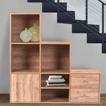 21 sur meuble de rangement escalier 3 niveaux bois fa on h tre avec porte et tiroirs achat. Black Bedroom Furniture Sets. Home Design Ideas