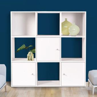 13 sur meuble de rangement cube 9 cases bois blanc avec 3 portes achat prix fnac