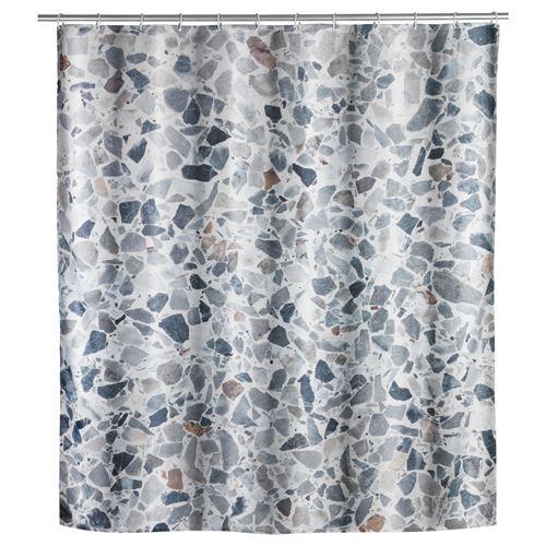 Wenko - Rideau de douche design Terrazzo - Polyester - 180 x 200 cm - Gris - Terrazzo