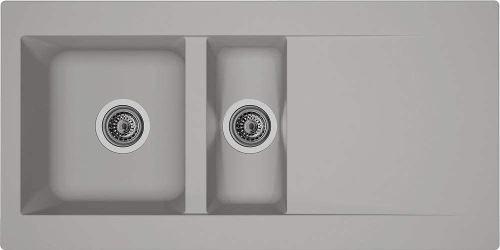 Évier Respekta Denver - En minéralite - Encastrable - Pour cuisine - Couleur gris béton - 100 x 50