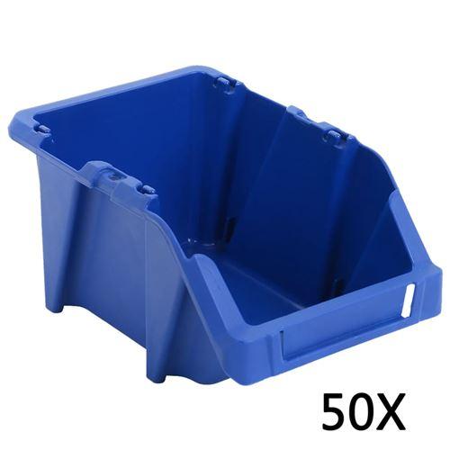 Bac de rangement empilable 50 pcs 200x300x130 mm Bleu