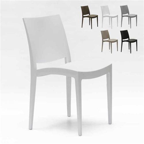 Chaise en polypropylène pour salle à manger bar et restaurant Grand Soleil Trieste, Couleur: Blanc