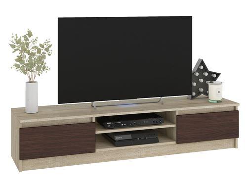 ROBIN   Meuble bas TV contemporain salon/séjour 160x33x40cm   2 niches + 2 portes   Rangement matériel audio/video/gaming   Sonoma/Wenge