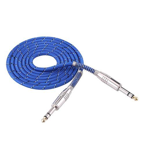 Câble audio mâle à mâle stéréo de 6.35 mm pour guitare électrique stéréo 1.8m
