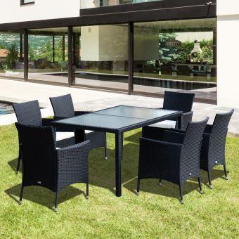 Ensemble salon de jardin 6 fauteuils avec coussins assise + table ...