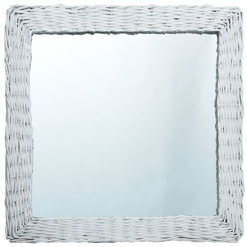 vidaXL Miroir Blanc 50x50 cm Osier