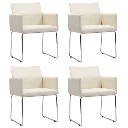 vidaXL Chaise de salle à manger 4 pcs Aspect de lin Blanc
