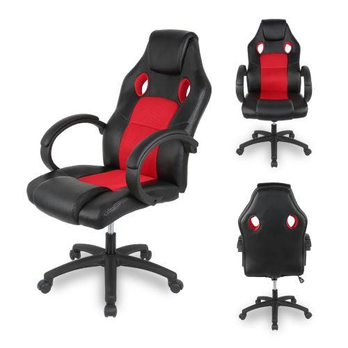 Fauteuil de Bureau Chaise de Gamer Siège baquet Ergonomique en Similicuir pour noir et rouge