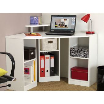 bureau d 39 angle avec r hausse 6 niches en bois achat prix fnac. Black Bedroom Furniture Sets. Home Design Ideas