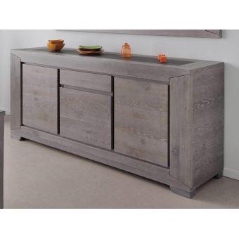 buffet bas 3 portes 1 tiroir bois l195xp48xh91cm bruts gris achat prix fnac. Black Bedroom Furniture Sets. Home Design Ideas