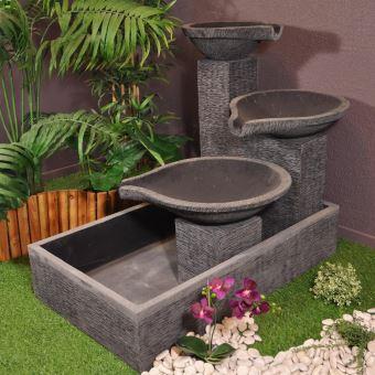 Fontaine de jardin à débordement bassin 3 vasques noire grise ...