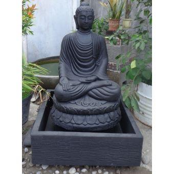 Fontaine Exterieur Bouddha fontaine de jardin bouddha assis 1 m 20 patiné noir - décoration d