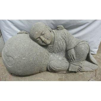 Statue En Pierre De Jardin Zen Moine Shaolin 1 M Décoration D