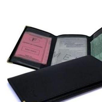 Porte Papier Voiture Et Carte Volet Noir En Croute De Cuir Achat - Porte papier voiture