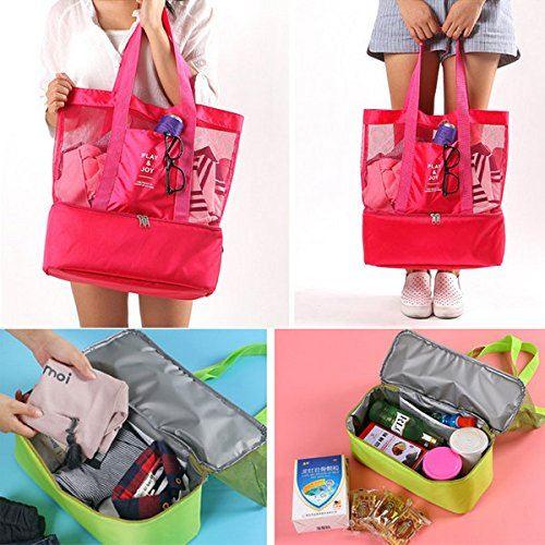 Cabas sac à pique-nique ou à provisions multifonctions pliable et isotherme ROSE