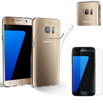 Coque pour Samsung Galaxy S7 + Verre Trempé Film Protection Ecran - Housse  Etui Gel TPU Silicone Transparent Protection Souple Ultra Mince Fine Slim  Leger ... e5ca83b3b382