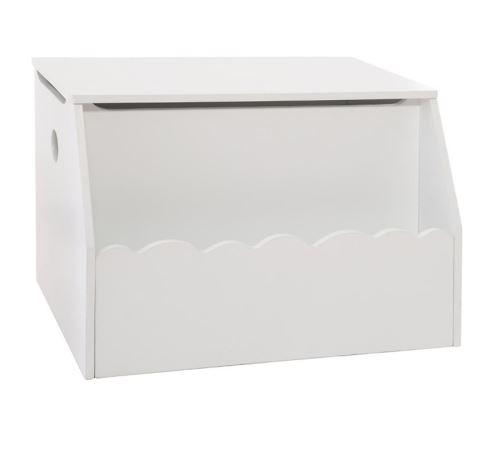 Coffre à jouets coloris blanc en MDF - L. 57,5 x l. 38 x H. 38 cm -PEGANE-
