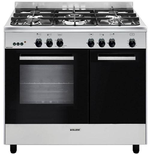 piano de cuisson gaz 66l 5 feux inox/noir - ga960pcgix