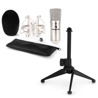 Auna Cm00s Kit Micro V1 Micro De Studio Argent Trépied Table