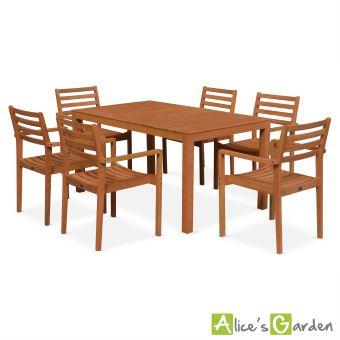 24% sur Salon de jardin en bois Cadaques, table 150cm Alice\'s Garden ...