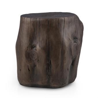 Blumfeldt Blockhouse Tabouret / chaise de jardin style tronc d\'arbre  45x44x36cm design bois