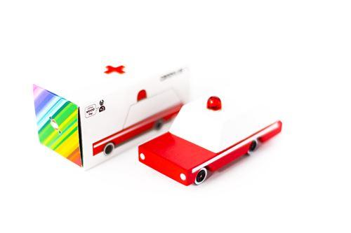 Petites voitures et mini modèles rétro classiques en bois Candylab Candycar Véhicules design pour enfants et adultes - Ambulance CND E185