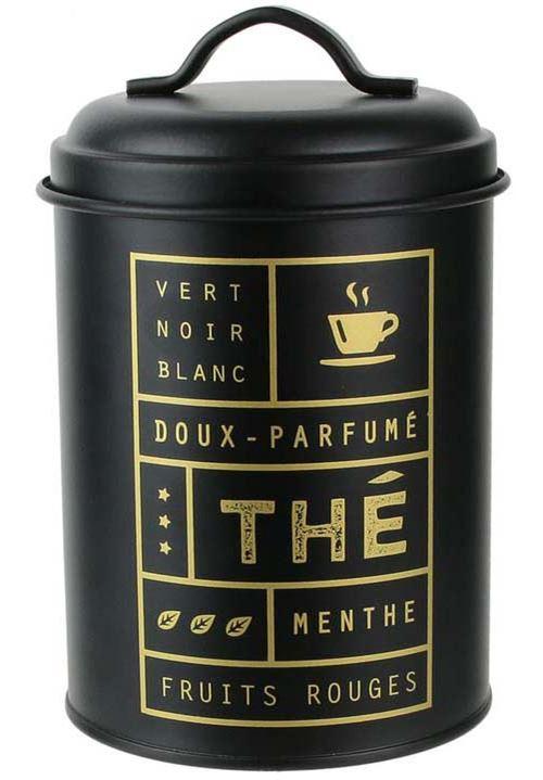 La Boite A - Boite à thé ronde noir mat Nora