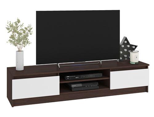 ROBIN   Meuble bas TV contemporain salon/séjour 160x33x40cm   2 niches + 2 portes   Rangement matériel audio/video/gaming   Wenge/Blanc