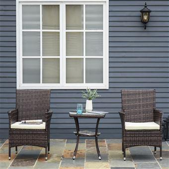 Ensemble salon de jardin 2 places : 2 fauteuils et table basse plateau  verre trempé résine tressée imitation rotin chocolat foncé coussins blanc