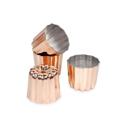 PATISSE Lot de 4 moules à cannelés 4.5 cm en cuivre