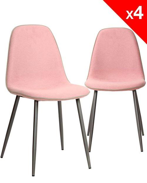 et Kayelles gauffré tissu Lot 4 Design ROXY Chaises de métalRose oCBdxe