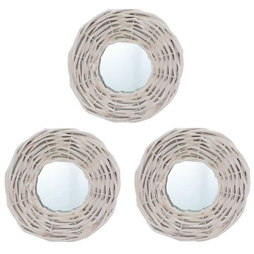 vidaXL Miroirs 3 pcs Blanc 15 cm Osier