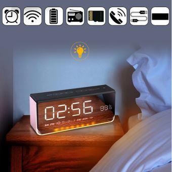 Sans fil Bluetooth Haut parleur LED réveil avec affichage Miroir Radio FM_kosenewe532