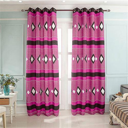 Paire de rideaux Jacquard Ama - Fuchsia - Dimensions : 140x260cm
