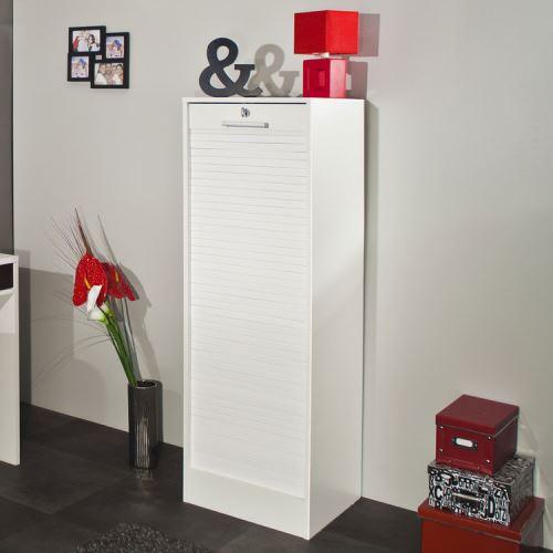 Classeur à rideaux en bois Hauteur 106 cm - Blanc