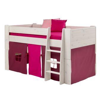 lit mi hauteur en pin blanchi avec habillage de lit rose violet 90x190 cm pegane achat. Black Bedroom Furniture Sets. Home Design Ideas