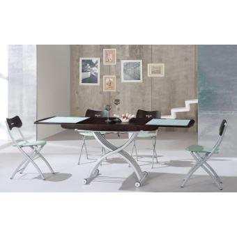 Basse Table Relevable Cooper Wenge Et Verre Blanc UMzqSVpGL