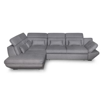 Canapé convertible avec tiroir tissu gris foncé BALI - Angle ...