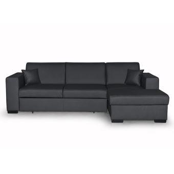 330€ sur Canapé d angle convertible avec coffre simili cuir gris