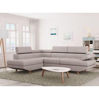 Sur Canapé Dangle Style Scandinave Places Tissu Beige LINNEA - Canapé d angle gauche