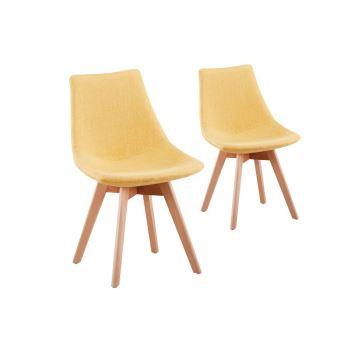 45 sur lot de 2 chaises scandinaves loa tissu avec pieds bois couleur moutarde achat. Black Bedroom Furniture Sets. Home Design Ideas