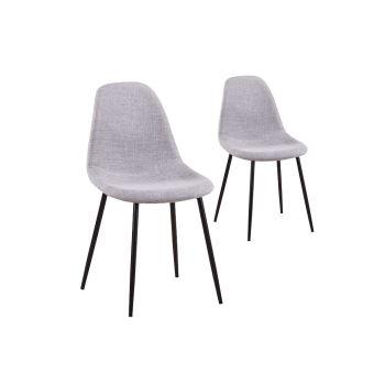 lot de 2 chaises scandinaves lisa tissu avec pieds mtal noir achat prix fnac - Chaise Scandinave Pied Metal