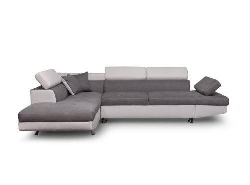 500€ sur Canapé d Angle Gauche Convertible avec coffre Blanc Gris
