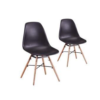 30 sur lot de 2 chaises scandinaves luna coque plastique et pieds bois couleur noir achat prix fnac - Chaises Scandinaves Couleur