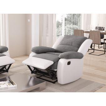 Fauteuil Relaxation 1 place Microfibre Grise Simili cuir Blanc