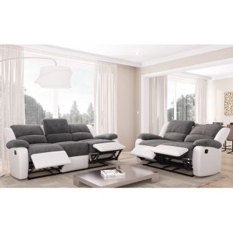 Ensemble De Canapes Relaxation 3 Places Et 2 Places Microfibre Grise Simili Cuir Blanc Detente