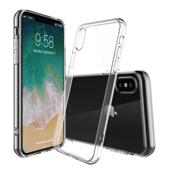 BPFY Coque Silicone TRANSPARENTE Pour Iphone X 10 Apple avec Vitre de protection OFFERTE Protection arriere anti choc Etui en silicone TPU souple renforce Verre trempe 9H Finition Excellence