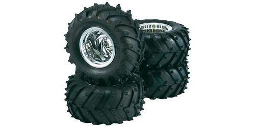 Roues complètes tracteur pour Monster Truck 1/10 - Design 5 rayons - chrome