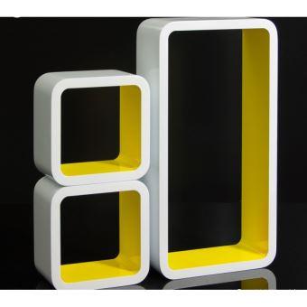 Set De 3 Etageres Murales Cube Meuble Rangement Blanc Et Jaune Eta06053 Achat Prix Fnac