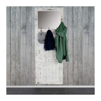 porte manteau meuble dentre avec miroir 180x65x7cm blanc vintage med04038 achat prix fnac